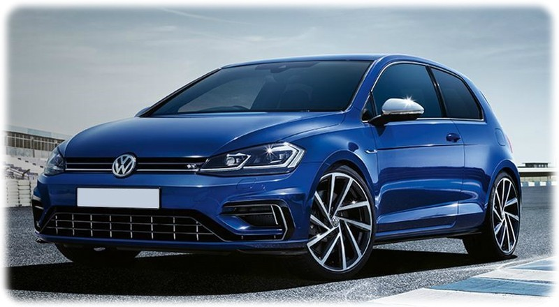 New 2018 Golf R Front view on a race track