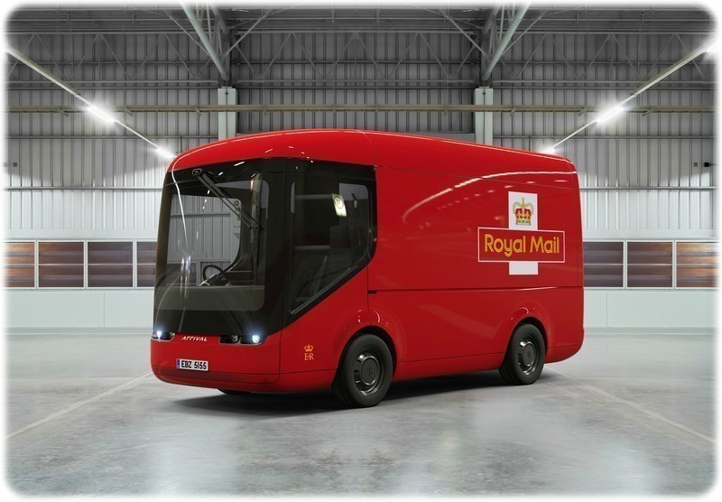 The new electric Royal Mail distribution van in a warehouse from a front angle.