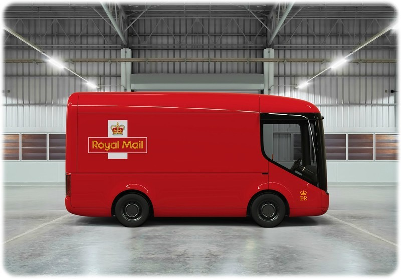 The new electric Royal Mail distribution van in a warehouse from a side angle.