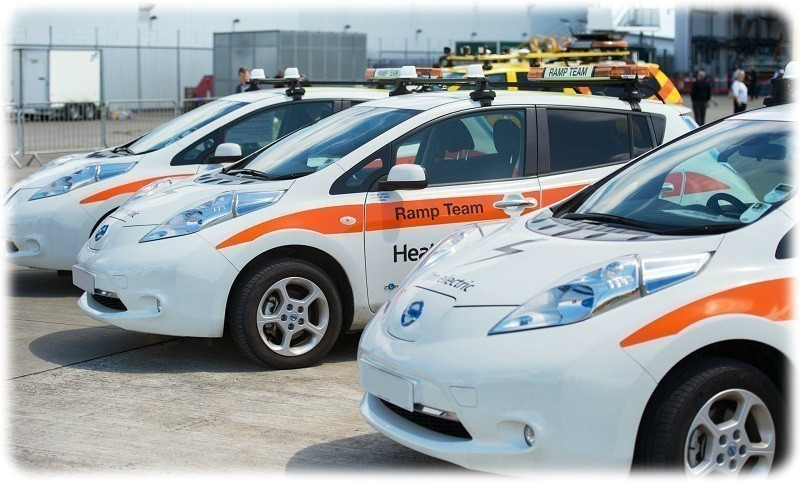 The all electric Nissan Leaf fleet at Heathrow