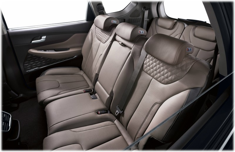 New 2018 Hyundai Santa Fe rear seats second three and third row two, taken from a seven seat version of the Santa Fe