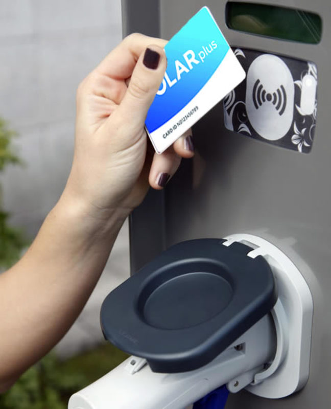RFID card being used at charging station